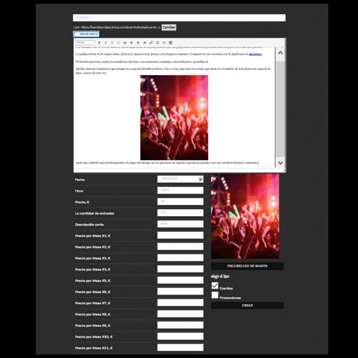 El administrador de la discoteca puede crear eventos en un panel de gestión especial: estos eventos se muestran automáticamente en el calendario de eventos, en la página de eventos y en la página principal del sitio web.