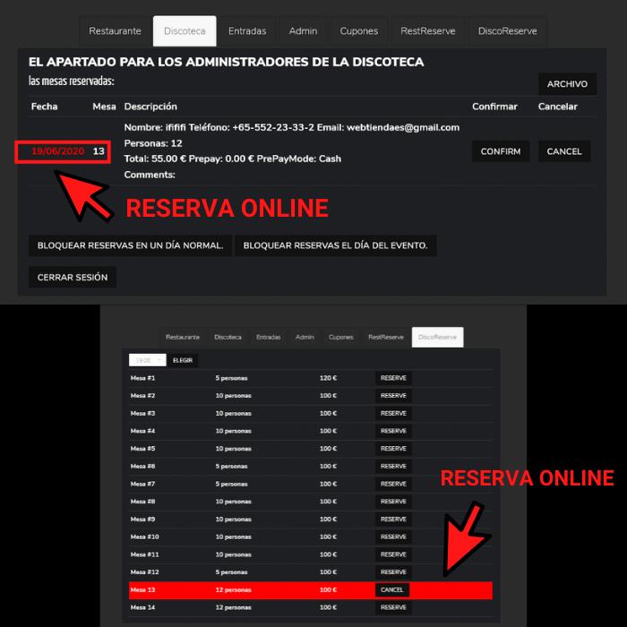 El sistema de reserva en línea - online (por vía de sitio web) y de reserva fuera de línea – offline (por parte del administrador de la discoteca) está interconectado por una base de datos, lo que excluye la posibilidad de una doble reserva de la misma mesa para un día y una hora en específico