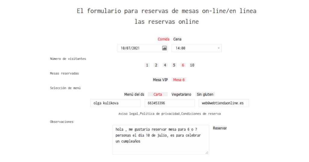 hemos creado un sistema único de reservas online/externo (utilizando un formulario especial de reserva de mesa en el sitio web) y offline/interno (crear y editar reservas dentro del restaurante por el administrador)